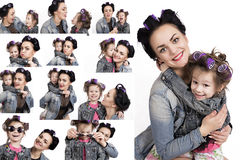 Collection of photos little girl and her mother in hair curlers royalty free stock photography