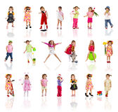 Collection Photos Of Cute Little Girl On White Royalty Free Stock Images