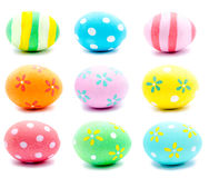 Collection of photos painted handmade easter eggs isolated Royalty Free Stock Photos