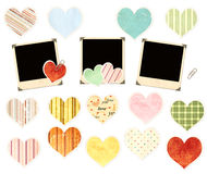 Collection of photos and paper hearts. Set of photos and paper hearts royalty free stock images