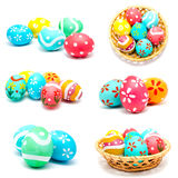 Collection of photos perfect colorful handmade easter eggs Royalty Free Stock Image