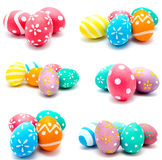 Collection of photos perfect colorful handmade easter eggs Royalty Free Stock Images