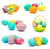 Collection of photos perfect colorful handmade easter eggs Royalty Free Stock Photography