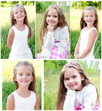 Collection of photos smiling cute little girl Royalty Free Stock Photos