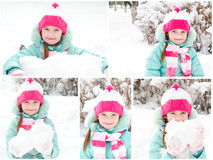 Collection of photos smiling cute little girl Stock Images