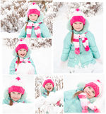 Collection of photos smiling cute little girl Stock Photography