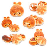 Collection of photos sweet buns and rolls Royalty Free Stock Image