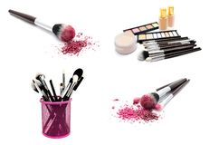 Collection of photos various set of professional makeup brushes and cosmetics and palette of colourful eye shadows isolated. Over white background stock photo