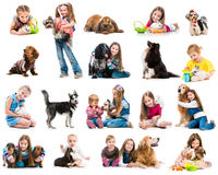 Collection photos of young children with dogs and royalty free stock images