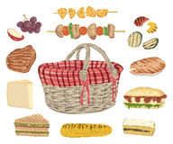 Collection of picnic food. Grill meat, fish, vegetables, sandwiches, cheese, corn, kebab, fruits and basket. Stock Photos