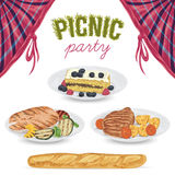 Collection of picnic food. Grilled meat, fish, vegetables, baguette, cake with blueberry and raspberry. Isolated elements Royalty Free Stock Image