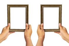 Collection picture frame in woman hand Royalty Free Stock Image
