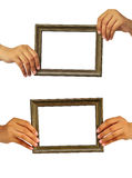 Collection picture frame in woman hand Stock Image
