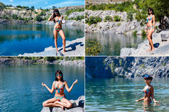Collection of a pictures of a beautiful young tanned woman relax. Ation on a mountain beach Stock Photo