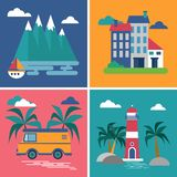 Collection of pictures in flat style. Four images from the category rest. royalty free illustration