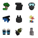 A collection of pictures about the game in paintball. The balloons with paint.Paintball icon in set collection on Stock Images