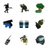 A collection of pictures about the game in paintball. The balloons with paint.Paintball icon in set collection on Stock Image
