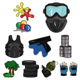 A collection of pictures about the game in paintball. The balloons with paint.Paintball icon in set collection on Stock Photography
