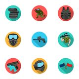 A collection of pictures about the game in paintball. The balloons with paint.Paintball icon in set collection on flat Royalty Free Stock Photo