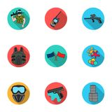 A collection of pictures about the game in paintball. The balloons with paint.Paintball icon in set collection on flat Royalty Free Stock Image
