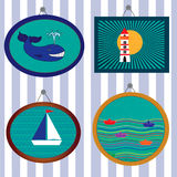 Collection with pictures in marine style with while, ship and lighthouse on the striped background. Stock Photography