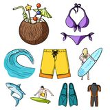 A collection of pictures on the theme of the beach, the sea, surfing. Rescuers of the beach.Surfing icon in set. Collection on cartoon style vector symbol stock Stock Photos