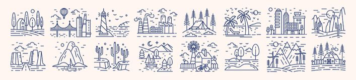 Collection of picturesque landscape icons or symbols drawn with contour lines on light background. Bundle of beautiful. Linear natural sceneries. Monochrome stock illustration