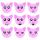 Collection of Pig Smiley Faces isolated on white background. Different Emotions. Vector Illustation for Your Design, Game, Card. stock illustration