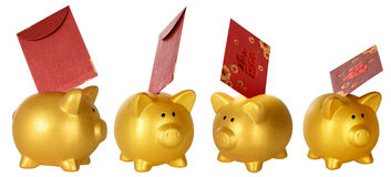 Collection Piggy Bank And Red Envelope Stock Photography