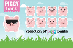 Collection of piggy banks with different face expressions Stock Photo
