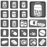 Collection of pills. Collection of different squared pills icons Stock Photography