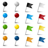 Collection of pin needle office supplies Stock Photos