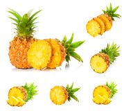 Collection pineapple with slices Stock Image