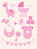 Collection of pink Baby Girl Objects Royalty Free Stock Photography