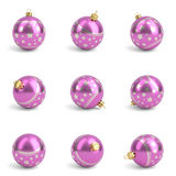Collection of pink christmas balls. White . 3D render Stock Photo