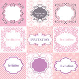 Collection pink frames, cards, patterns. Can be used for Birthda. Y, Mother`s Day, Wedding, Easter, scrapbook vector illustration