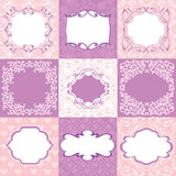 Collection pink frames, cards, patterns. Can be used for Birthda. Y, Mother`s Day, Wedding, Easter, scrapbook Royalty Free Stock Photo