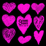 Collection of pink hand-drawn sketch hearts for Valentines Day Stock Images