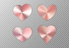 Collection of pink hearts. A collection of hearts with rose gold texture for a romantic greeting design for Valentine`s Day, design cards for Mother`s Day, March royalty free illustration