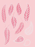 Collection of pink leaves. Pack of pink leaves elements Stock Photos