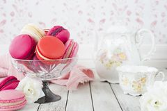 Collection of pink macarons royalty free stock photos