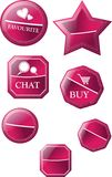 Collection of pink and purple decorated stickers, labels Royalty Free Stock Images