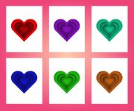 Collection of pink, red ,green , white colored Valentine`s day card vector illustration