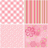 Collection pink seamless. Stock Photos