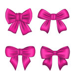 Collection Pink Silk Gift Bows Isolated Royalty Free Stock Photography