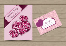 Collection Pink Valentine Card and Postcard Templates. With Hearts for a Saint Valentine`s Day.  Set Vector illustration Can be Used for Love Letter Design Royalty Free Stock Photos