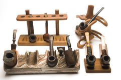 Collection of pipes and pipe racks Royalty Free Stock Image