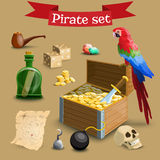 Collection of pirate illustrations. Royalty Free Stock Photo