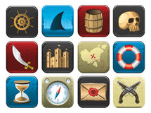 Collection of Pirate Symbols. Pirate icons and symbols - skull rum barrel shark, treasure map, compass, pistols and sword Royalty Free Stock Photos