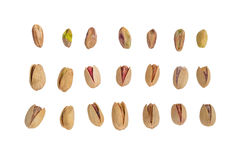 Collection of Pistachio nuts, isolated on white background Stock Image